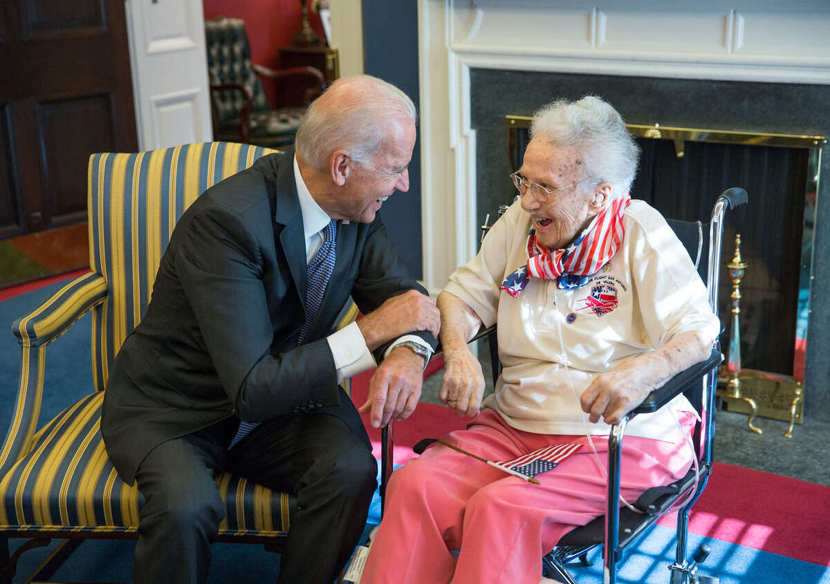 Vice President Joe Biden greets Lucy Coffey, 108, the oldest living female veteran in the U.S., in his West Wing Office.