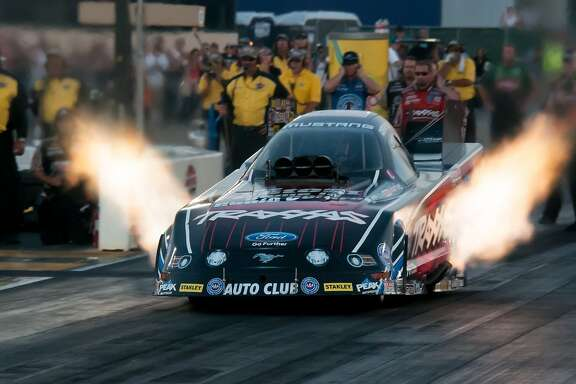 Courtney Force ran a 4.045-second pass at 319.22 mph in her Traxxas Ford Mustang to claim the top spot after the first day of qualifying at the NHRA Sonoma Nationals on Friday, July 25, 2014.