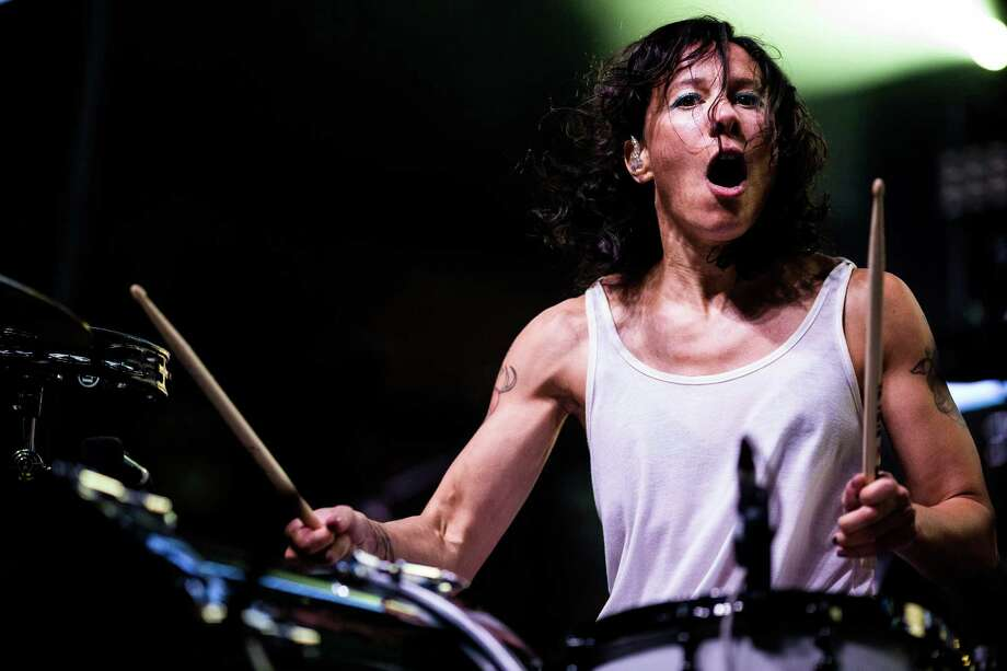 Kim, of Dance duo Matt and Kim, furiously drums on the first of three days of the annual Capitol Hill Block Party Friday, July 25, 2014, in Seattle, Wash. Photo: JORDAN STEAD, SEATTLEPI.COM / SEATTLEPI.COM