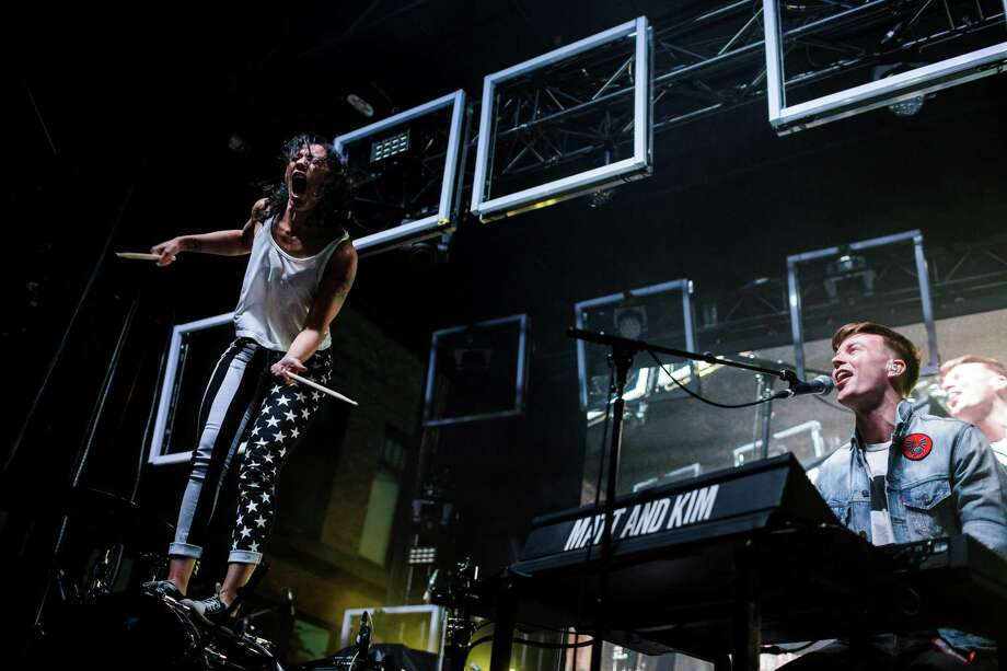 Brooklyn-native dance duo, Matt and Kim, perform on the first of three days of the annual Capitol Hill Block Party Friday, July 25, 2014, in Seattle, Wash. Photo: JORDAN STEAD, SEATTLEPI.COM / SEATTLEPI.COM