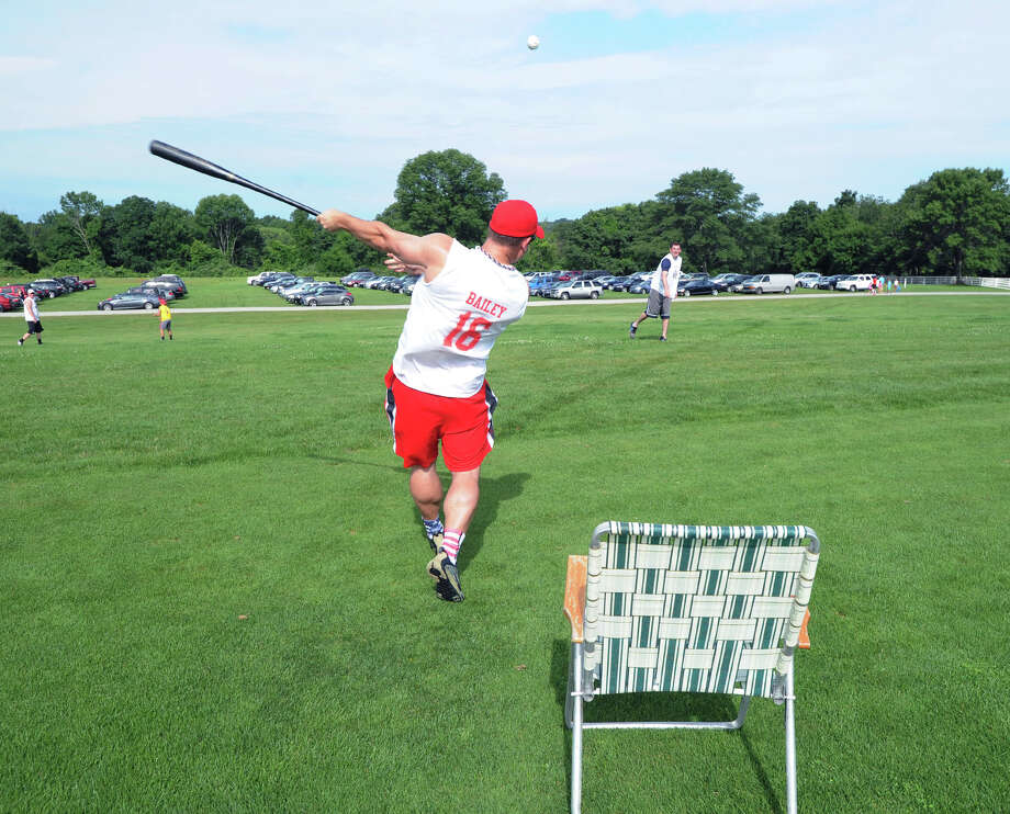 The annual Greenwich Wiffle Ball Tournament at the Greenwich Polo Club, Conyers Farm, Greenwich, Conn., Saturday, July 26, 2014. Photo: Bob Luckey / Greenwich Time