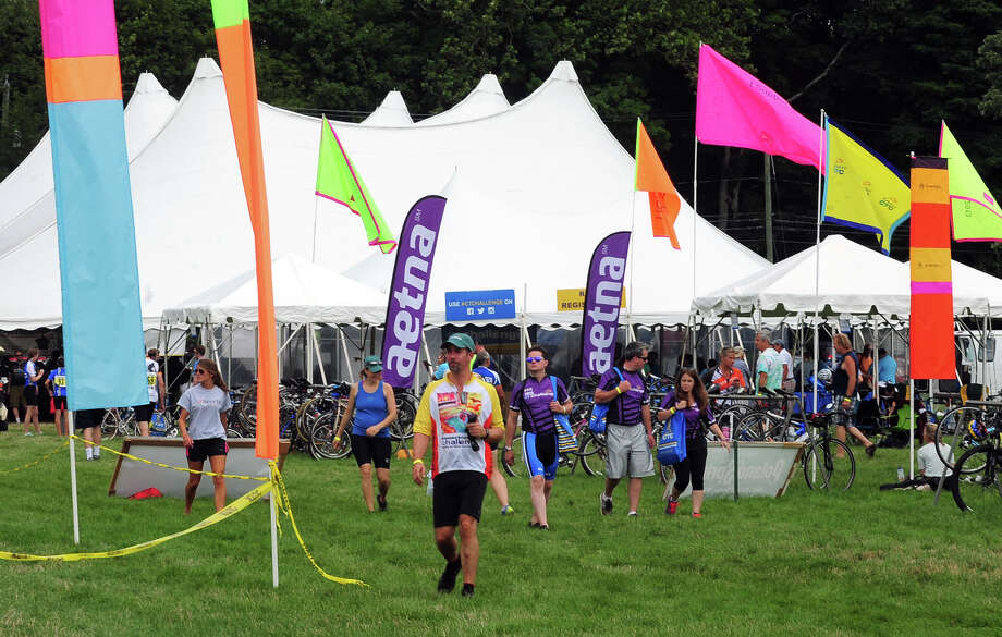 The annual CT Challenge charity bike ride was held on the grounds of the Fairfield County Hunt Club in Westport, Conn. on Saturday July 26, 2014. About 1000 riders gathered as individuals and in teams to raise money to help cancer survivors. There were several routes riders took part in, from 10 miles up to 100 miles. Photo: Christian Abraham / Connecticut Post