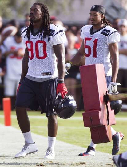 Day 1: July 26  Linebackers Jadeveon Clowney (90) and Paul Hazel (5