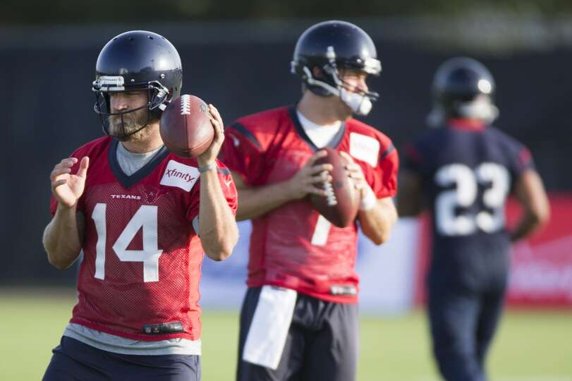 Day 1: July 26  Quarterbacks Ryan Fitzpatrick (14) and Case Keenum