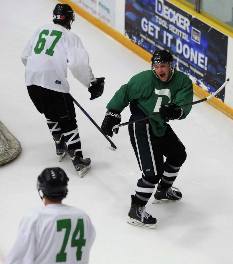 Green's Josh Redin celebrates his goal in the Danbury Whalers' Fifth Annual Summer All-Star Game at the Danbury Ice Arena in Danbury, Conn. Saturday, July 26, 2014. Photo: Tyler Sizemore / The News-Times