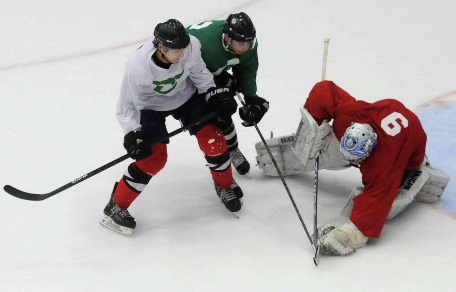 White's Derek Freeman, left, and goalie Michael Pearless defend Green's John Redin in the Danbury Whalers' Fifth Annual Summer All-Star Game at the Danbury Ice Arena in Danbury, Conn. Saturday, July 26, 2014. Photo: Tyler Sizemore / The News-Times
