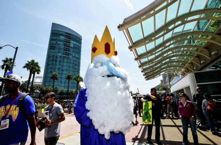 Ice King Alex Valadez stands outside the convention center on Day 3 at the 2014 Comic-Con International Convention held Saturday, July 26, 2014, in San Diego. Photo: Denis Poroy, Denis Poroy/Invision/AP / Invision