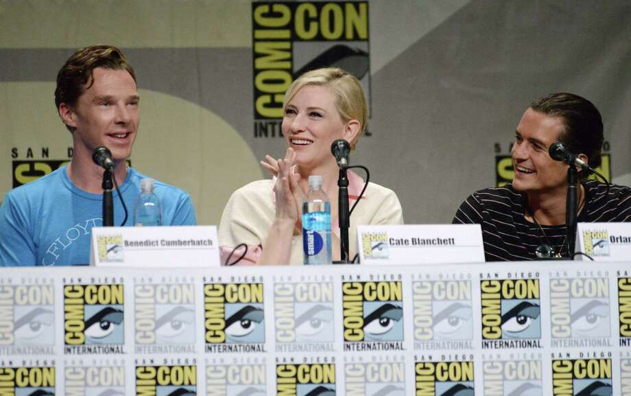 "Benedict Cumberbatch, from left, Cate Blanchett and Orlando Bloom attend the Warner Bros. Pictures panel for ""The Hobbit: The Battle of the Five Armies"" on Day 3 of Comic-Con International on Saturday, July 26, 2014, in San Diego. Photo: Richard Shotwell, Richard Shotwell/Invision/AP / AP2014"