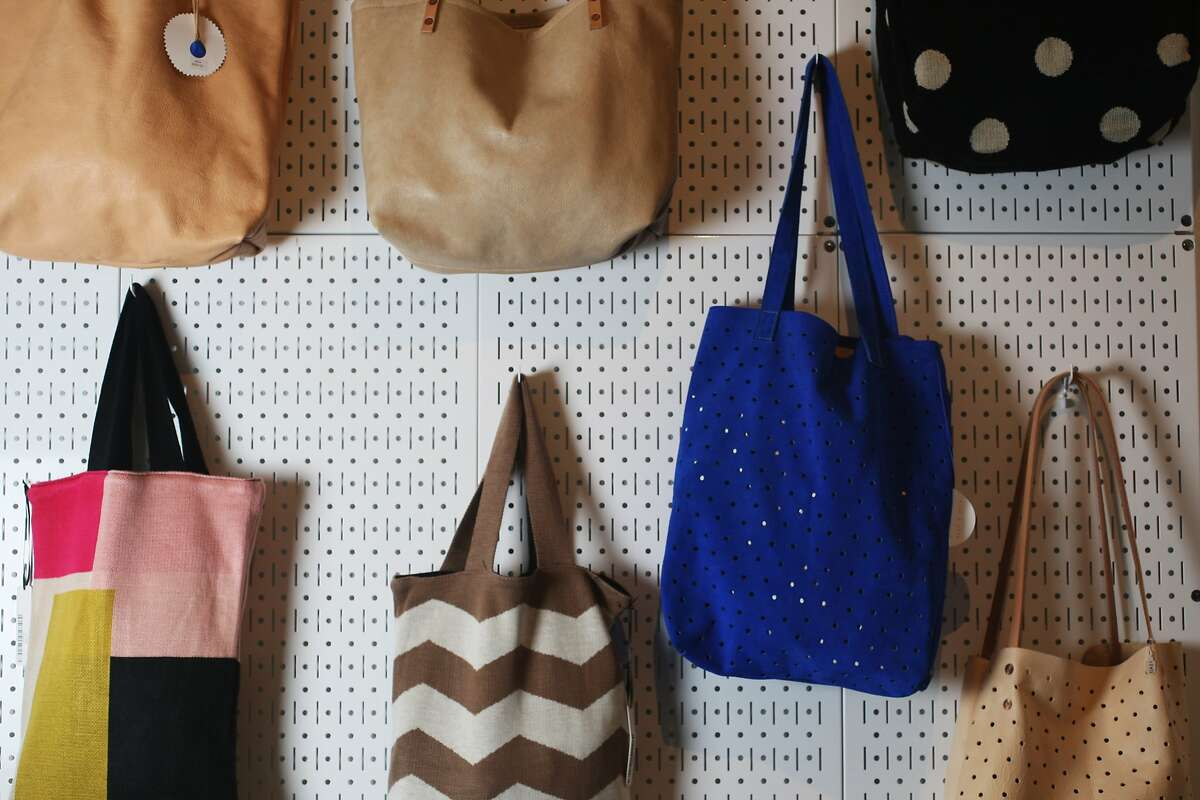 Tote bags by Pine & Boon for sale at Rare Device boutique in Noe Valley on July 23, 2014 in San Francisco, CA. Rare Device sells jewelry and accessories alongside other eclectic items