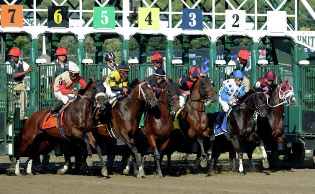 The field breaks the gate in the 51st running of the Jim Dandy won by #7 Wicked Strong Saturday afternoon July 26, 2014 at the Saratoga Race Course in Saratoga Springs, N.Y.    (Skip Dickstein / Times Union) Photo: SKIP DICKSTEIN