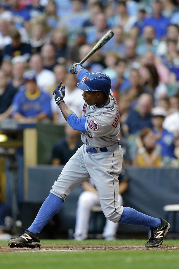 MILWAUKEE, WI - JULY 26: Curtis Granderson #3 of the New York Mets hits a solo home run in the top of the fifth inning against the Milwaukee Brewers at Miller Park on July 26, 2014 in Milwaukee, Wisconsin. (Photo by Mike McGinnis/Getty Images) ORG XMIT: 477586861 Photo: Mike McGinnis / 2014 Getty Images