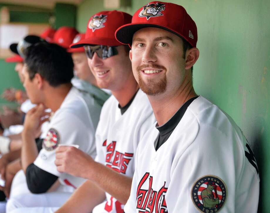 Tri-City ValleyCats's pitcher Chris Munnelly in the dugout before Saturday's game against the Staten Island Yankees at Bruno Stadium July 26, 2014, in Troy, NY.  (John Carl D'Annibale / Times Union) Photo: John Carl D'Annibale / 00027875A