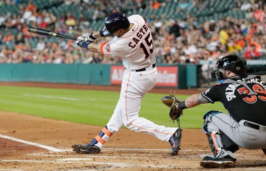 Jason Castro hits a home run in the first inning against. Photo: Bob Levey, Getty Images