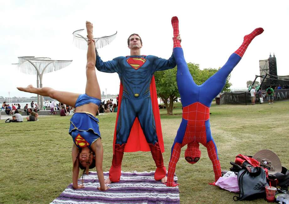 "SAN DIEGO, CA - JULY 26:  Cosplayers atthend ""Gotham"" Zip Line during Comic-Con International 2014 on July 26, 2014 in San Diego, California. Photo: Mark Davis, Getty Images / 2014 Getty Images"