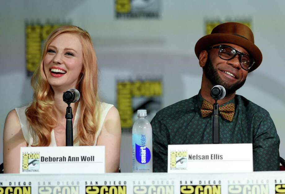 "SAN DIEGO, CA - JULY 26:  Actors Deborah Ann Woll  (L) and Nelsan Ellis attend HBO's ""True Blood"" panel during Comic-Con International 2014 at San Diego Convention Center on July 26, 2014 in San Diego, California. Photo: Ethan Miller, Getty Images / 2014 Getty Images"