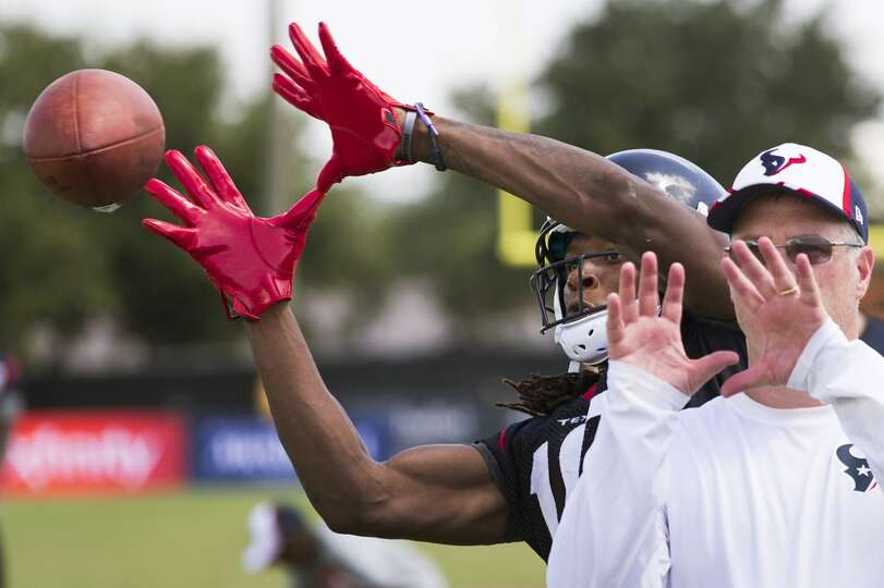 Day 2: July 27  Wide receiver DeAndre Hopkins (10) eyes a football