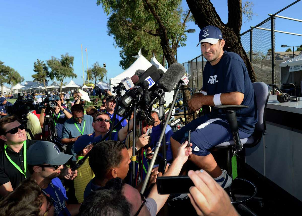 Dallas Cowboys quarterback Tony Romo gives a news conference to talk about his recovery from back surgery at the end of Dallas Cowboy's training camp, Thursday, July 24, 2014, in Oxnard, Calif. (AP Photo/Gus Ruelas)