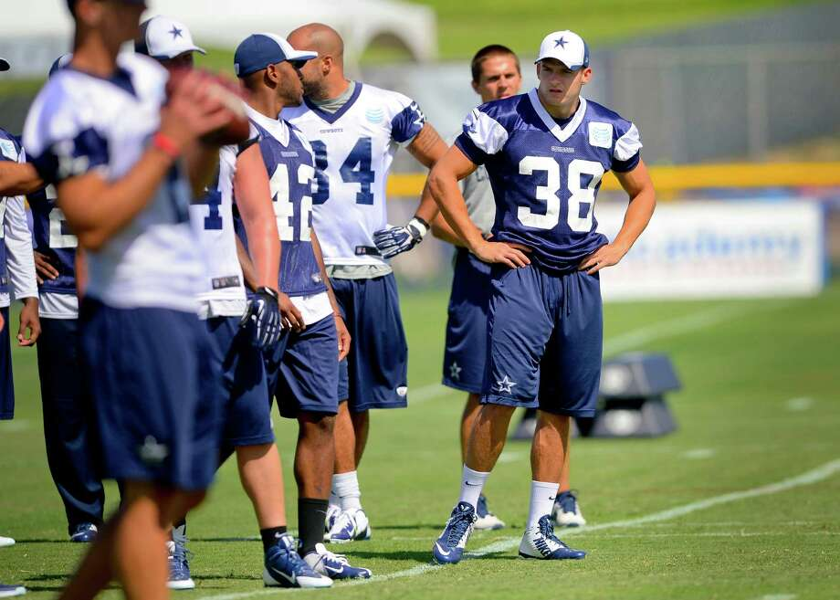Dallas Cowboys safety Jeff Heath (38) looks on as they run plays during Dallas Cowboy's training camp, Friday, July 25, 2014, in Oxnard, Calif. (AP Photo/Gus Ruelas) Photo: Gus Ruelas, Associated Press / FR157633 AP