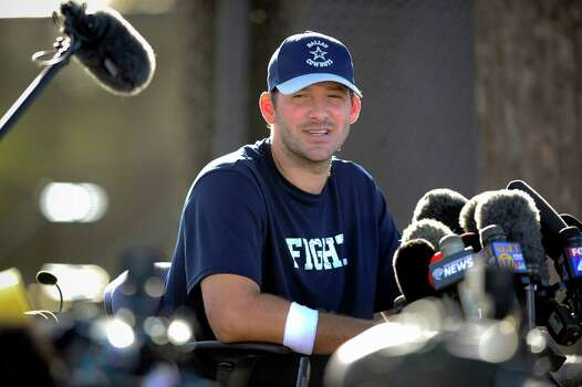 Dallas Cowboys quarterback Tony Romo gives a news conference about his recovery from back surgery at the end of NFL football training camp on Thursday, July 24, 2014, in Oxnard, Calif. (AP Photo/Gus Ruelas) Photo: Gus Ruelas, Associated Press / FR157633 AP