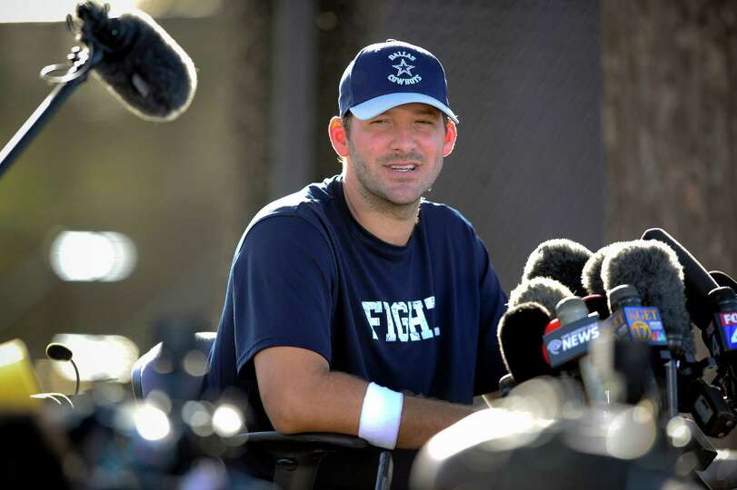 Dallas Cowboys quarterback Tony Romo gives a news conference about his recovery from back surgery at