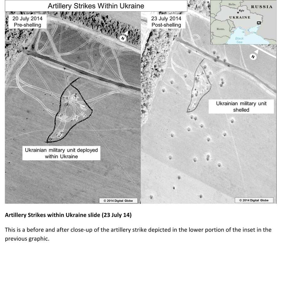 This third page of a four page document released by the U.S. State Department in Washington, July 27, 2014, shows a satellite image that purports to shows a before and after close-up of the artillery strike depicted in the lower portion of the inset in the previous graphic. The United States says the images back up its claims that rockets have been fired from Russia into eastern Ukraine and heavy artillery for separatists has also crossed the border.AP story: The