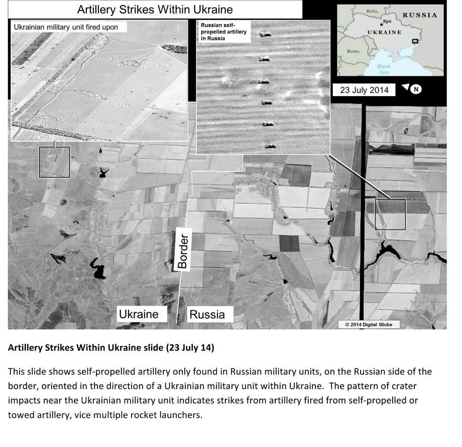 This second page of a four page document released by the U.S. State Department in Washington, July 27, 2014  shows a satellite image that purports to shows self propelled artillery only found in Russian military units, on the Russian side of the border, oriented in the direction of a Ukrainian military unit within Ukraine. The United States says the images back up its claims that rockets have been fired from Russia into eastern Ukraine and heavy artillery for separatists has also crossed the border.AP story: The  U.S. State Department, meanwhile, released satellite images that it  says back up its claims that rockets have been fired from Russia into  eastern Ukraine and heavy artillery for separatists has also crossed the  border. Photo: AP  / U.S. State Department