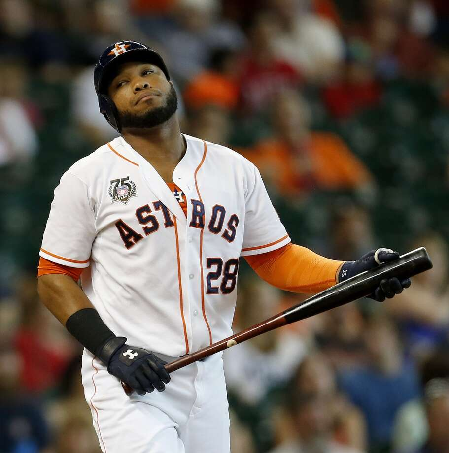 Astros first baseman Jon Singleton (28) reacts after striking out. Photo: Karen Warren, Houston Chronicle