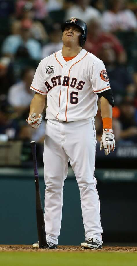 Astros left fielder Kiké Hernandez (6) reacts after striking out. Photo: Karen Warren, Houston Chronicle
