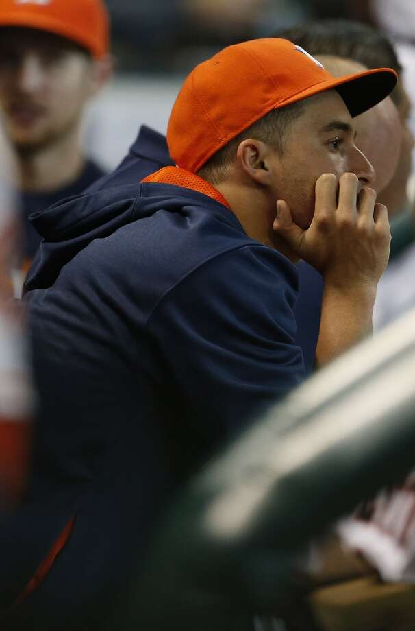 Astros right fielder George Springer (4) in the dugout. Photo: Karen Warren, Houston Chronicle