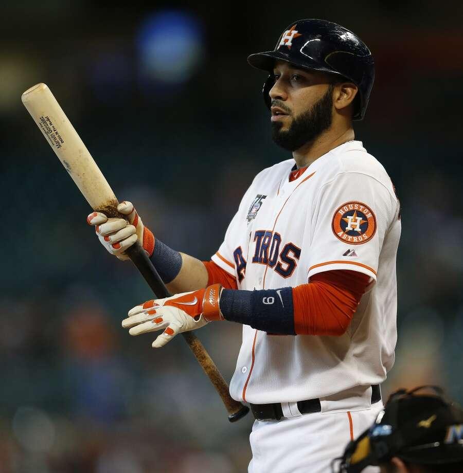 July 27: Marlins 4, Astros 2Astros shortstop Marwin Gonzalez (9) at bat in the first inning. Photo: Karen Warren, Houston Chronicle