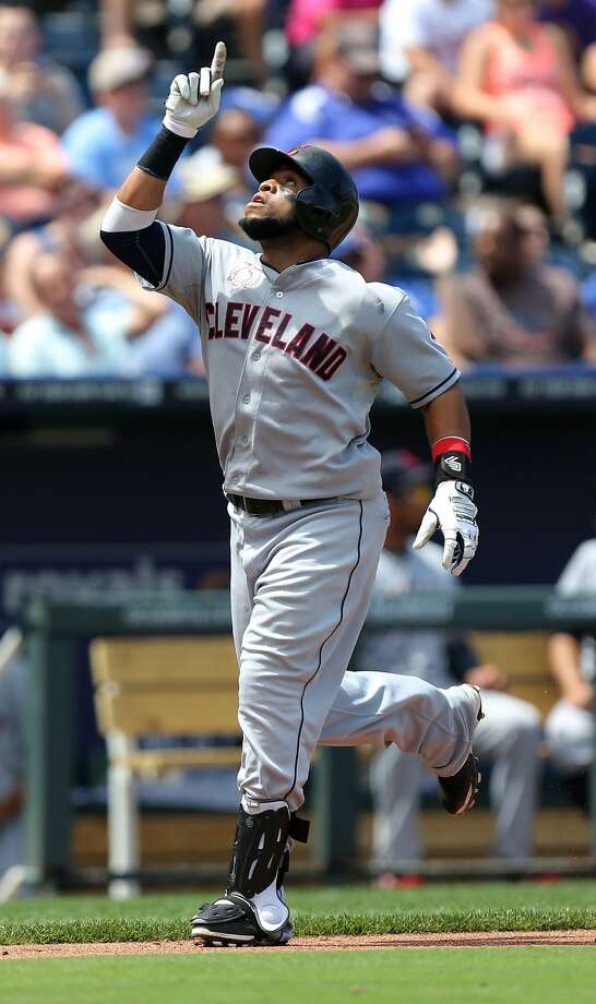Cleveland's Carlos Santana homered twice, giving him six home runs in six games. Photo: Ed Zurga, Getty Images