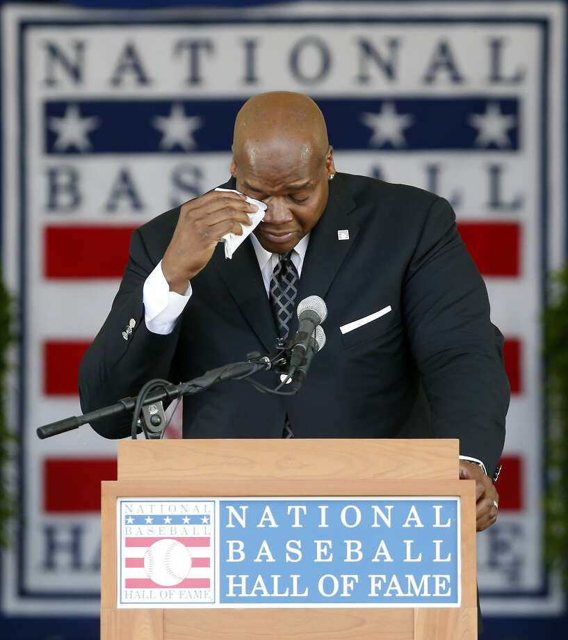 Frank Thomas, who played for the A's in 2006, delivered the most emotional of Sunday's induction speeches. Photo: Mike Groll, Associated Press