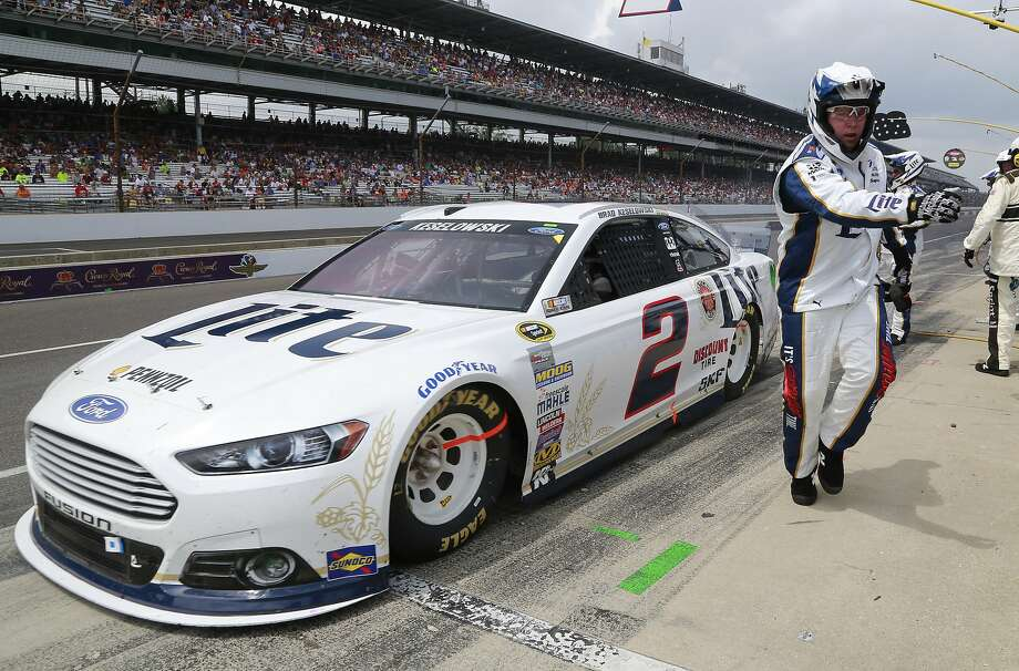 Brad Keselowski pits on his way to a disappointing 12th-place finish at the Brickyard 400. Photo: R Brent Smith, Associated Press