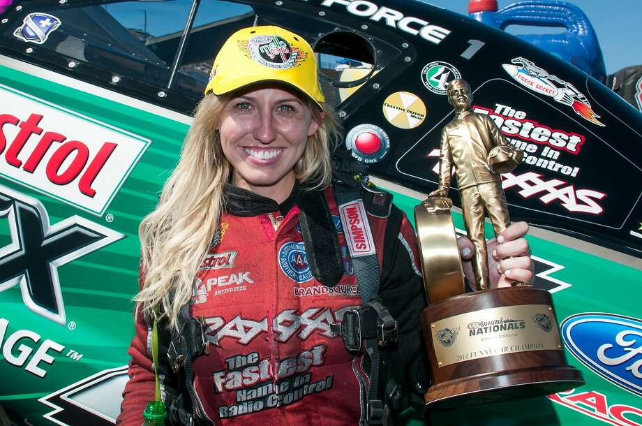 Courtney Force beat her father, John Force, in the final to take the Funny Car title at the 27th Sonoma Nationals. Photo: Mike Finnegan