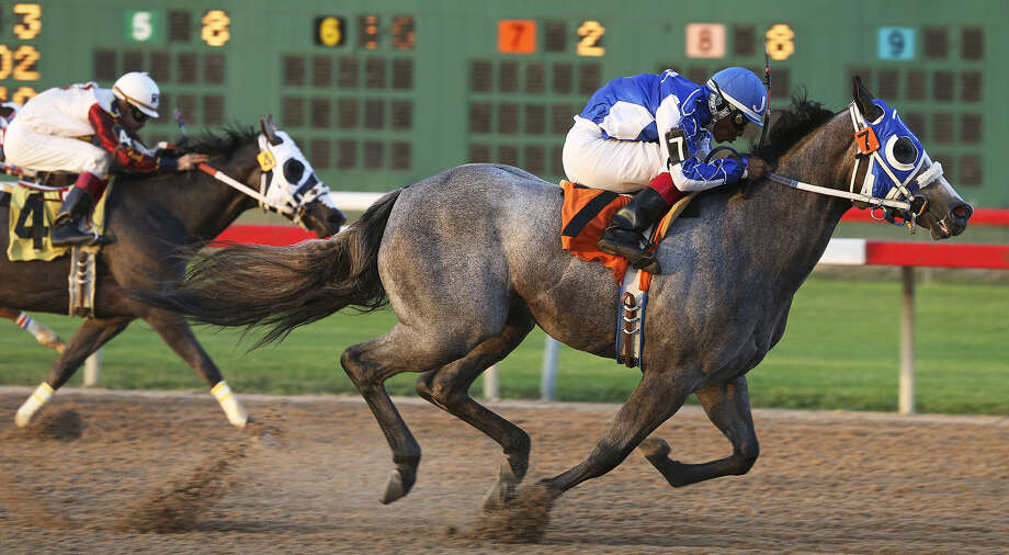 Tallulah Moon, with jockey Jose Amador Alvarez aboard, outsprints Carters Money to win the fourth race in the John Deere Juvenile Challenge on Saturday night at Retama Park. Photo: Tom Reel / San Antonio Express-News