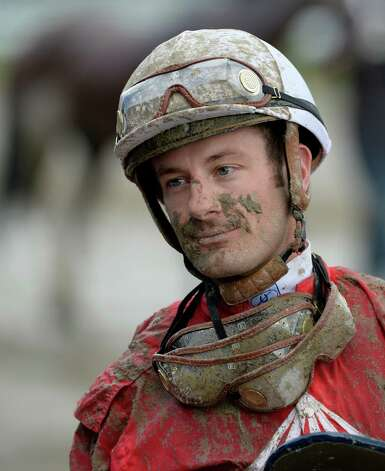 Jockey Julien Leparoux collected a considerable amount of mud during the 8th race Sunday afternoon July 27, 2014 at the Saratoga Race Course in Saratoga Springs, N.Y.    (Skip Dickstein / Times Union) Photo: SKIP DICKSTEIN