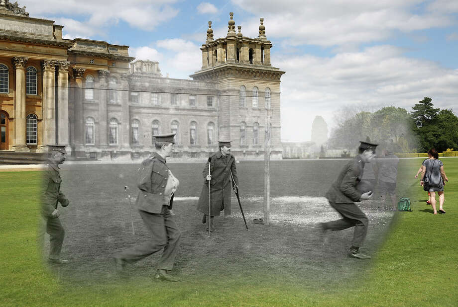 In this digital composite image a comparison has been made of Woodstock during World War I and modern day 2014: wounded soldiers playing football outside Blenheim Palace around 1916 in Woodstock, England. Photo: Peter Macdiarmid, Getty Images / 2014 Getty Images