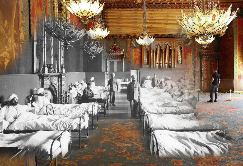 In this digital composite image a comparison has been made of Brighton during World War I and modern day 2014: Injured Indian soldiers of the British Army at the Brighton Pavilion, converted into a military hospital around 1915 in Brighton, England. Photo: Peter Macdiarmid, Getty Images / 2014 Getty Images