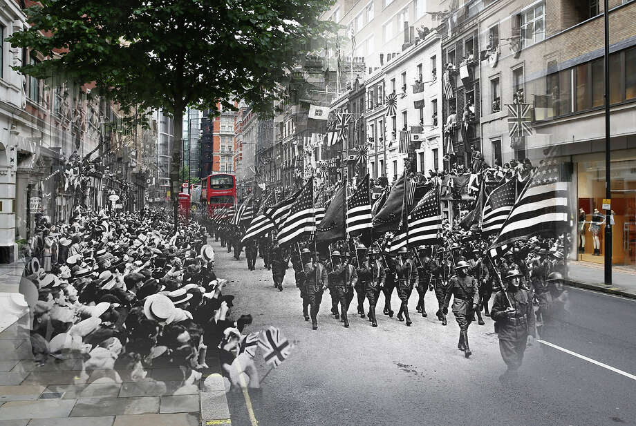 In this digital composite image a comparison has been made of London during World War I and modern day 2014: American troops marching down Sloane Street, west London, during World War I, 1918. Photo: Interim Archives, Getty Images / Archive Photos