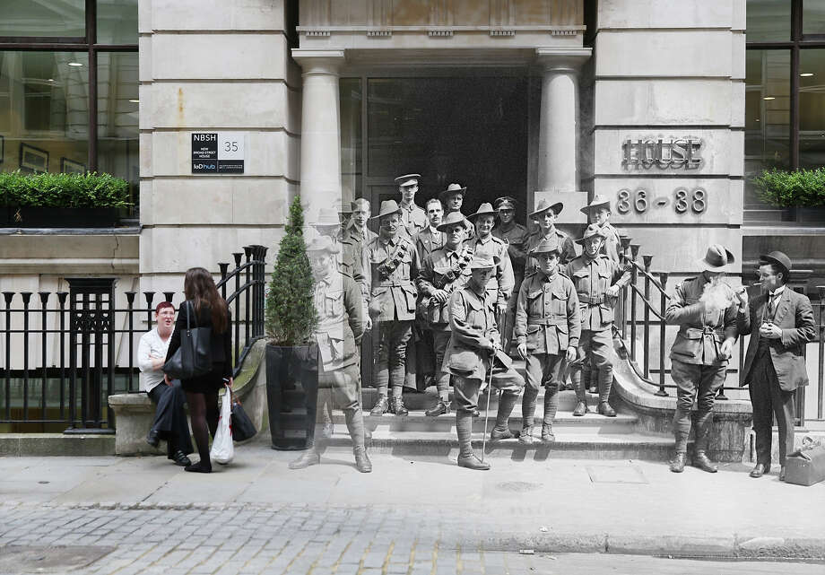 In this digital composite image a comparison has been made of London during World War I and modern day 2014: Australian soldiers outside Egypt House  in New Broad Street, London where The Australian Bank is housed in 23rd June 1917. Photo: Peter Macdiarmid, Getty Images / 2014 Getty Images