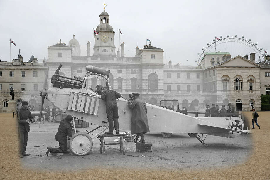 In this digital composite image a comparison has been made of London during World War I and modern day 2014: British soldiers inspecting a captured German place in the Horseguards' Parade, London during World War I in November 1915. Photo: Peter Macdiarmid, Getty Images / 2014 Getty Images