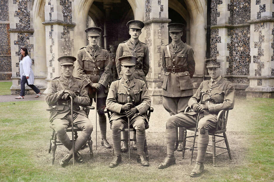 In this digital composite image a comparison has been made of Lancing during World War I and modern day 2014: Officers at the Lancing College Officer Training Corps in West Sussex during World War One, circa 1917. Photo: Popperfoto, Popperfoto/Getty Images / Popperfoto