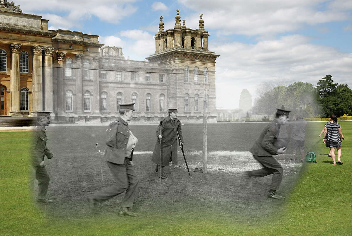 In this digital composite image a comparison has been made of Woodstock during World War I and modern day 2014: wounded soldiers playing football outside Blenheim Palace around 1916 in Woodstock, England.