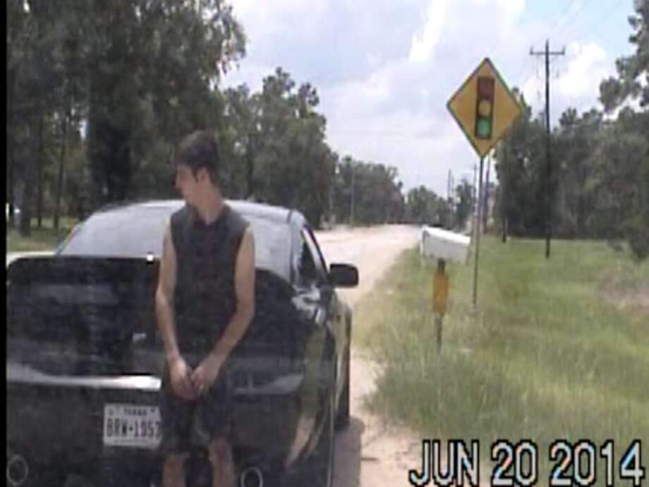 Fate handed this teen driver a punishment from the Gods when a pick-up slammed into his prized Mustang after he was stopped for speeding near Conroe. (Montgomery County Police Reporter) Photo: Montgomery County Police Reporter