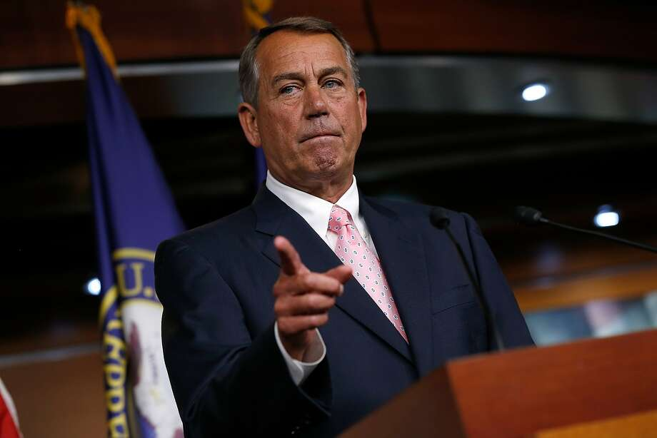 WASHINGTON, DC - JULY 24:  U.S. Speaker of the House John Boehner (R-OH) answers questions during a press conference at the U.S. Capitol July 24, 2014 in Washington, DC. Boehner answered questions on a pending bill to address the problems with the Veterans Affairs administration and also issues related to immigration.  (Photo by Win McNamee/Getty Images) Photo: Win McNamee, Getty Images