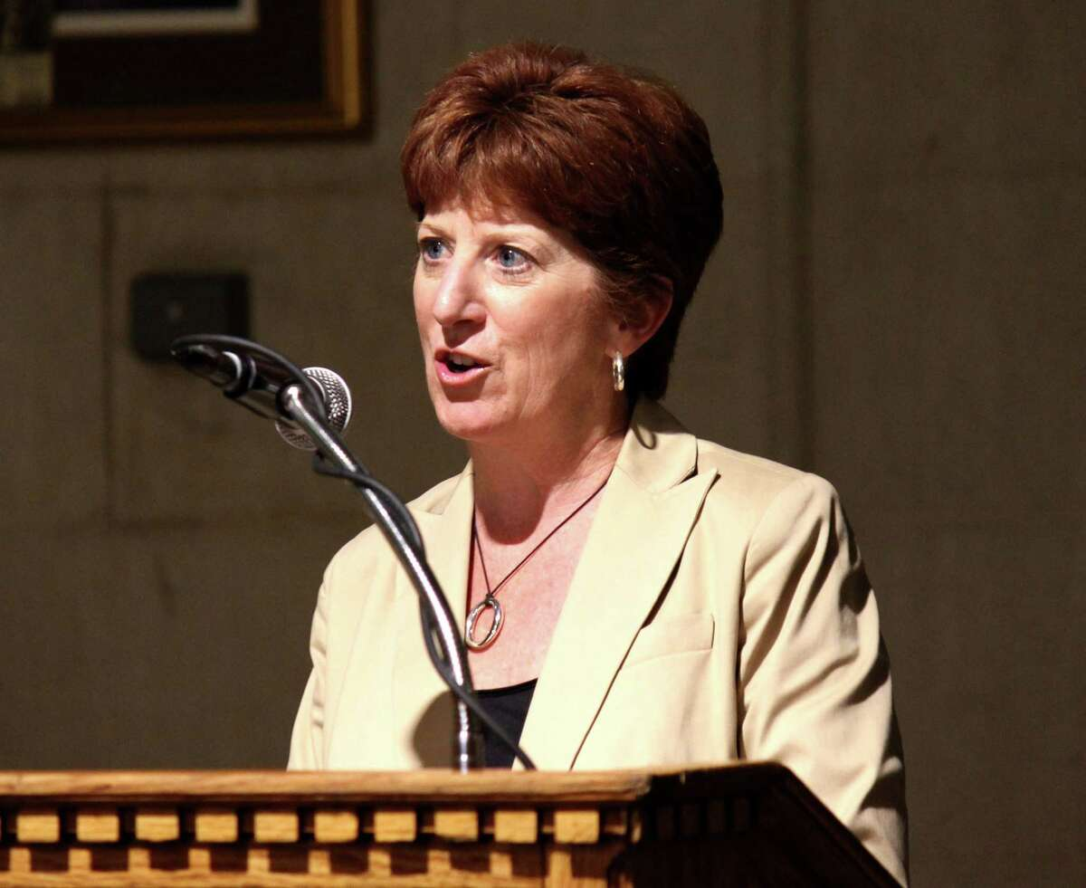Albany Mayor Kathy Sheehan announces a collaborative city-wide food drive in recognition of the Food Pantries for the Capital District's 35 years serving the community on Monday, July 28, 2014, in Albany N.Y. The food drives runs through August 8. (Selby Smith/Special to the Times Union)