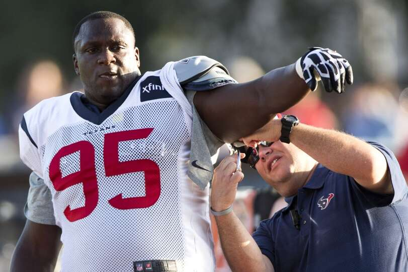 Day 3: July 28  Texans nose tackle Jerrell Powe (95) has his practi