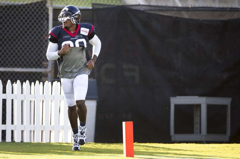 Day 3: July 28  Texans wide receiver Andre Johnson jogs onto the pr