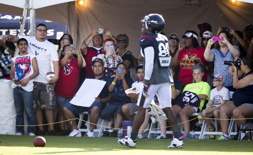 Day 3: July 28  Texans fans take photos of wide receiver Andre John