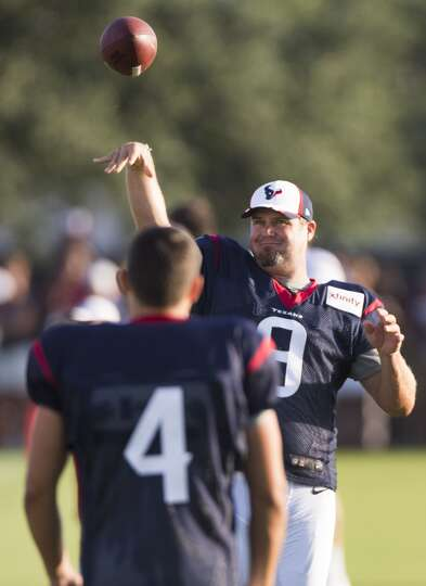 Day 3: July 28  Texans punter Shane Lechler (9) tosses a football t
